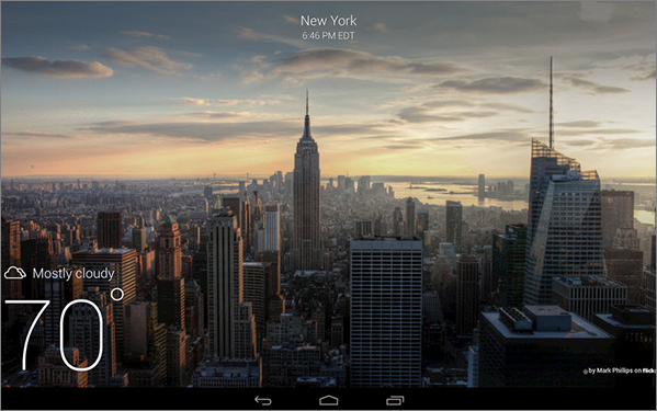 Graphic of Yahoo Weather on tablet.